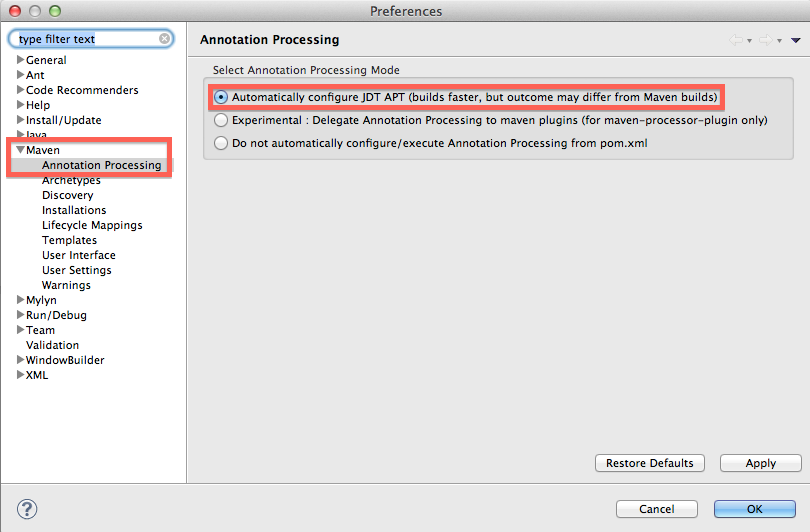 setup maven annotation processing in preferences