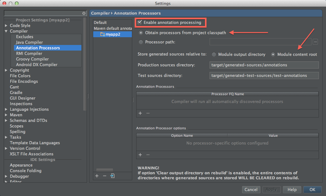 annotation processor settings in IDEA